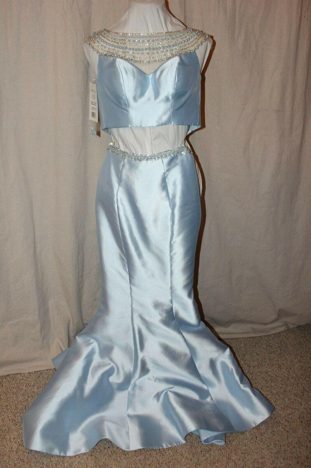 NWT Sherri Hill 52025 Lt Blue Size 00 Two piece fit n flair rhinestone PROM gown