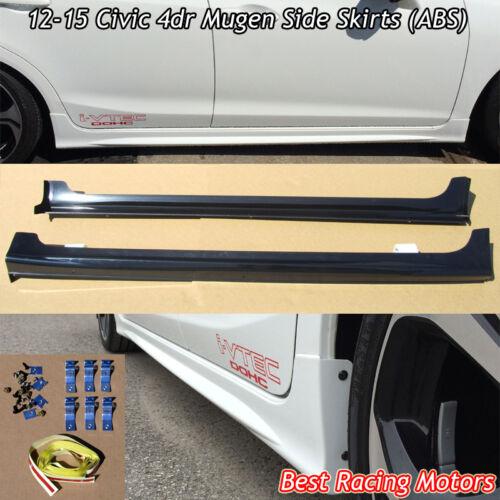 Mu-gen Style Side Skirts Fits 12-15 Honda Civic 4dr Sedan ABS