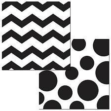 """16 Black White Polka Dot Chevron ZigZag Party 6.5"""" Paper Lunch Napkins"""