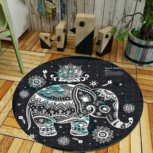 Luxury tondo Mystic Elefante Area Tappeto Tappeto