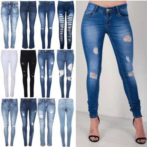 Donna Slim Skinny Fit Stretch RIP distrutto Pantaloni Jeans Denim Effetto Invecchiato