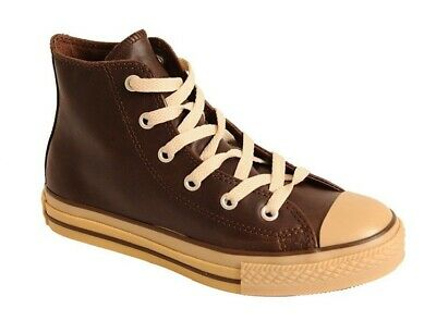 CONVERSE CHUCK TAYLOR HI Top Sneakers Youth Sz 1 LEATHER Brown/Gum