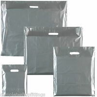 NEW SILVER HEAVY DUTY COLORED PLASTIC CARRIER BAGS PARTY GIFT BAGS IN 4 SIZES