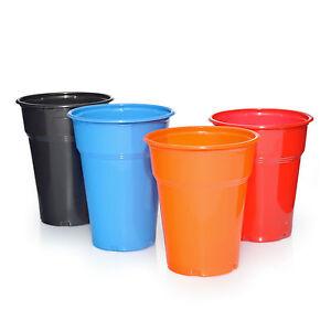 Plastikbecher-Trinkbecher-Ausschankbecher-1000x0-3l-0-4l-Schwarz-Blau-Orange-Rot
