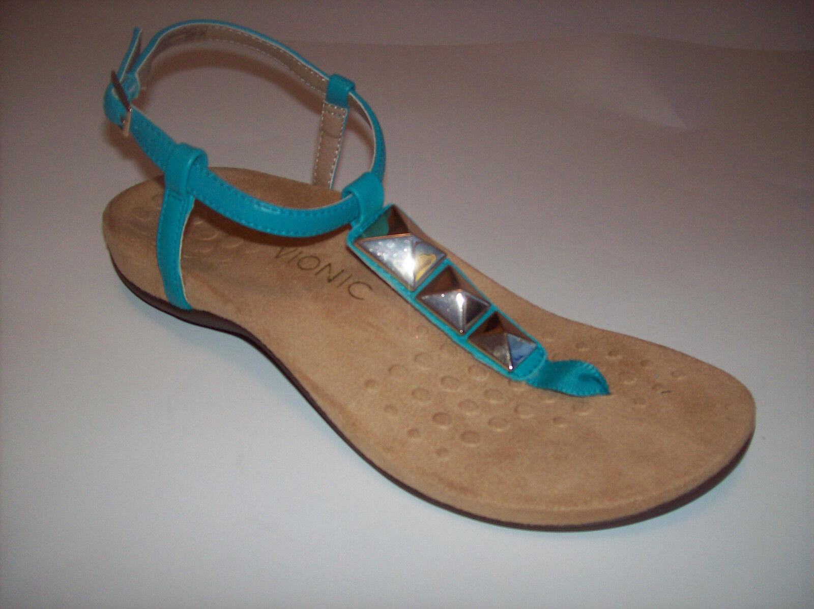 New VIONIC NALA  femmes teal or embellished thong comfort sandals US Sz 8M