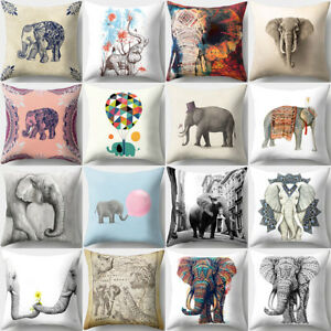 Cartoon Elephants Print Throw Pillow Case Cushion Cover Xmsa Home Decor Novelty
