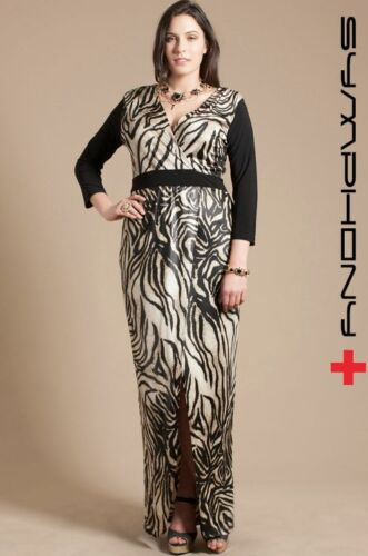 1XL 2XL 3XL Pack Zebra 3//4 Sleeve Event Cocktail Party Open Slit Long Maxi Dress