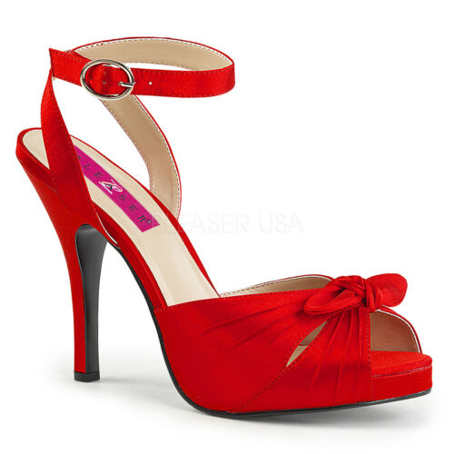 PLEASER PINK LABEL EVE-01 RED SATIN ANKLE STRAP HIGH HEEL SANDALS SHOES