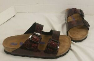 Details about NEW BIRKENSTOCK ARIZONA SOFT FOOTBED IRIDE RED BIRKO FLORI SANDALS WOMEN'S 5