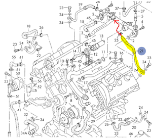 AUDI S4 A6 A6Q 2.7 2000-04 DRIVERS SIDE TURBO COOLANT RETURN HOSE  078121491F | eBay | Audi S4 2 7t Engine Diagram |  | eBay