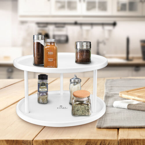 10in 2-Tier Lazy Susan Turntable 360-degree Tray Kitchen Spice Jar Storage Rack