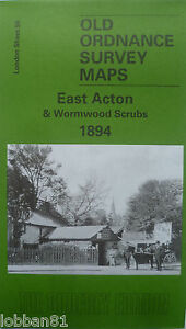 Old-Ordnance-Survey-Detailed-Map-East-Acton-amp-Wormwood-Scrubs-London-1894-S58