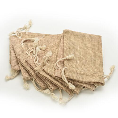 Small Vintage Natural Burlap Hessian Bomboniere Bags Wedding Party Favor LI