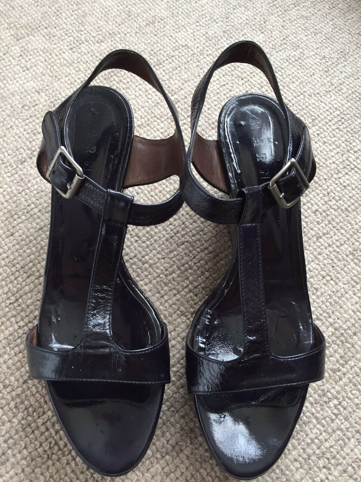 Marni Midnight bluee Patent Leather Wedge Sandals Size 39