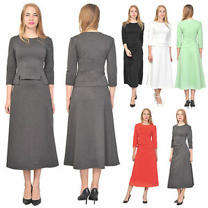 Women 39 s top shirt a line midi skirt suit set casual office for Best business dress shirts