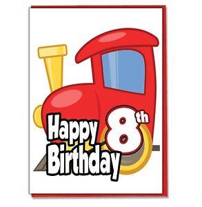 Image Is Loading Toy Train 8th Birthday Card Boys Son Grandson