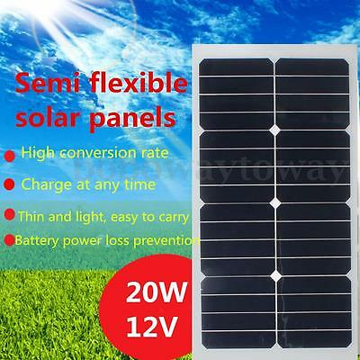 20w 12v Solar Panel Single Crystal Semi Power Module Battery Charger + 3m Cable
