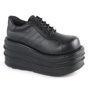 Demonia TEMPO-08 Men's Black Faux Leather Platform Lace-Up Oxford Sneaker Shoes