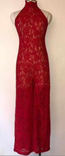 Kim Shui Red Lace Jumpsuit 4 S Sleeveless Wide Lec