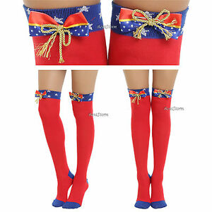 d1dd8f471ca Wonder Woman Super Hero Bows Costume Cosplay Over-The Knee High ...