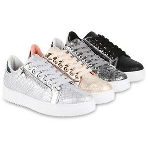 b04a3f4151e862 Das Bild wird geladen Modische-Damen-Plateau-Sneaker-Lack-Turnschuhe-Zipper- Metallic-