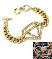 Gold Tone Crystal Pave Diamond Jewel Charm Metal Curb Chain Toggle  Bracelet