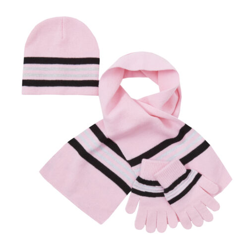 Girls Hat Gloves Scarf Set Warm Winter Back To School Knitted Pink Striped 2-6 Y