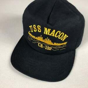 USS Macon CA-132 Snapback Hat VTG Cap Navy Blue United States Navy USA Made Ship