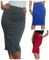 Ladies Tube Skirt Pencil Stretch Bodycon Plain Midi Black Size 8 10 12 14 16 18