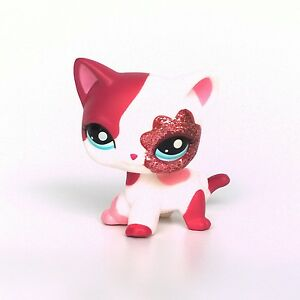 Lps Cat Pink White Sparkle Glitter Littlest Pet Shop Short Hair Cat