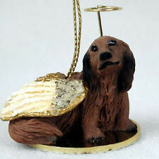 DACHSHUND (RED LONG HAIR) ANGEL DOG CHRISTMAS ORNAMENT HOLIDAY Figurine Statue