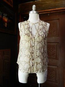 H-amp-M-Womens-V-Neck-Animal-Print-Sleeveless-Button-Down-Sheer-Blouse-Top-EUR38-US8