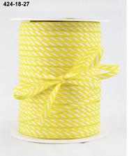 """1/8"""" Solid/Diagonal Stripes Ribbon - May Arts - 424-18-27 Yellow - 5 Yds."""