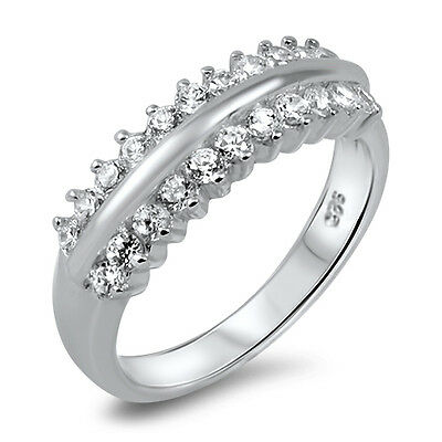925 Sterling Silver Women's Engagement/wedding Eternity Simulated Diamonds Ring SchöN In Farbe