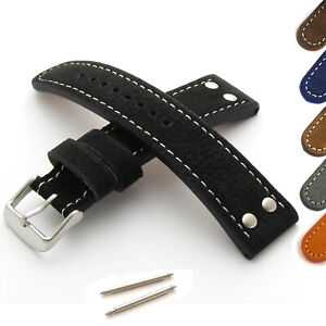 Leather-Watch-Strap-Band-Water-Buffalo-Suede-Riveted-Aviator-18-20mm-22mm-24mm