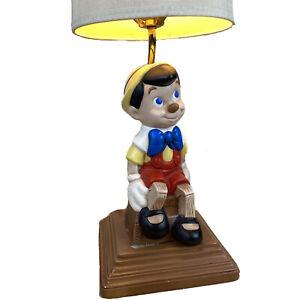 "VTG 1974 11"" Pinocchio Walt Disney Atlantic Mold Ceramic Lamp Tested M Wellman"