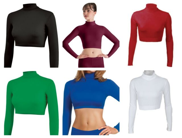 Body Wrappers White Long Sleeve Turtleneck Cheer Crop Top Child 4-6