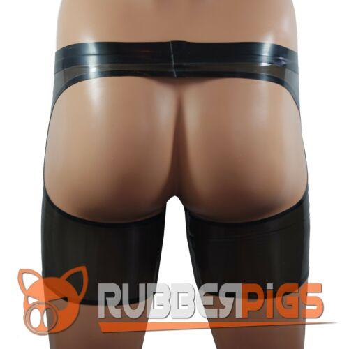 Da Uomo in gomma Cheeky Chaps Pantaloni corti in lattice clothing UK Fatto a Mano vedere attraverso Nero