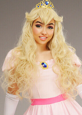 Womens Blonde Darling Princess Wig Fringe With Pink Tiara Fairytale Accessory