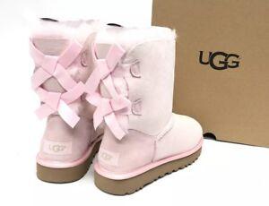 8d9f660abbc Details about Ugg Australia Bailey Bow II Metallic Seashell Pink Womens  1019032 Sheepskin
