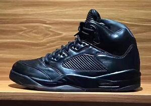 8663370a002 Nike Air Jordan 5 V Retro Premium SZ 9 Triple Black Pinnacle LUX ...