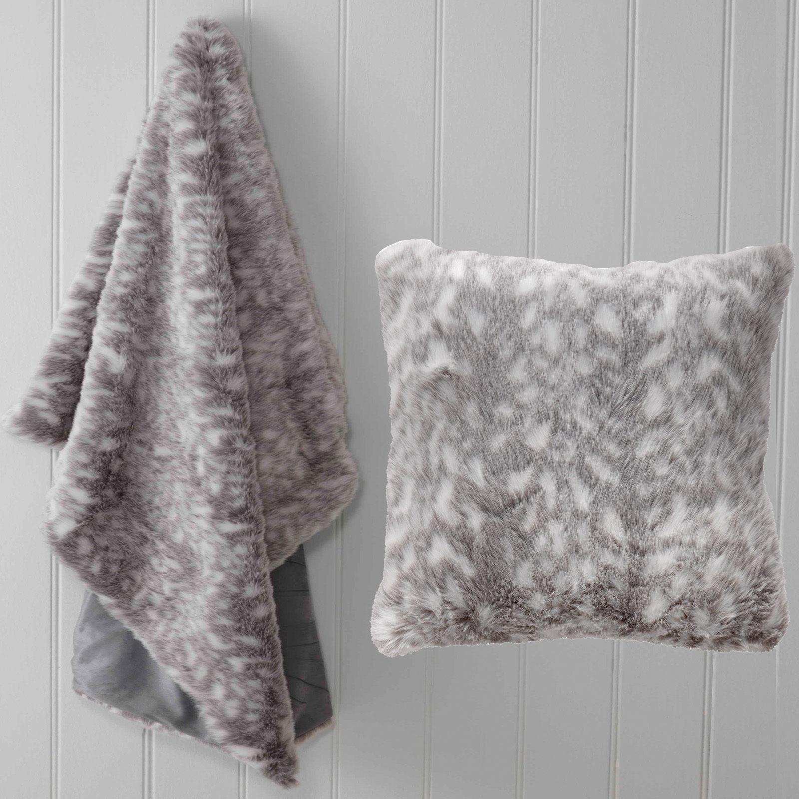 Denver Faux Fur by white   Throw Rug   Cushion