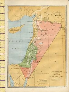 c1880 MAP ~ THE TERRITORIES OF THE HEBREWS DURING REIGNS OF DAVID & SOLOMON