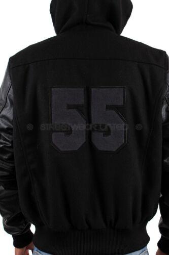 Aviatrix College Baseball Crâne 55 à capuche demi cuir tous Veste Noire
