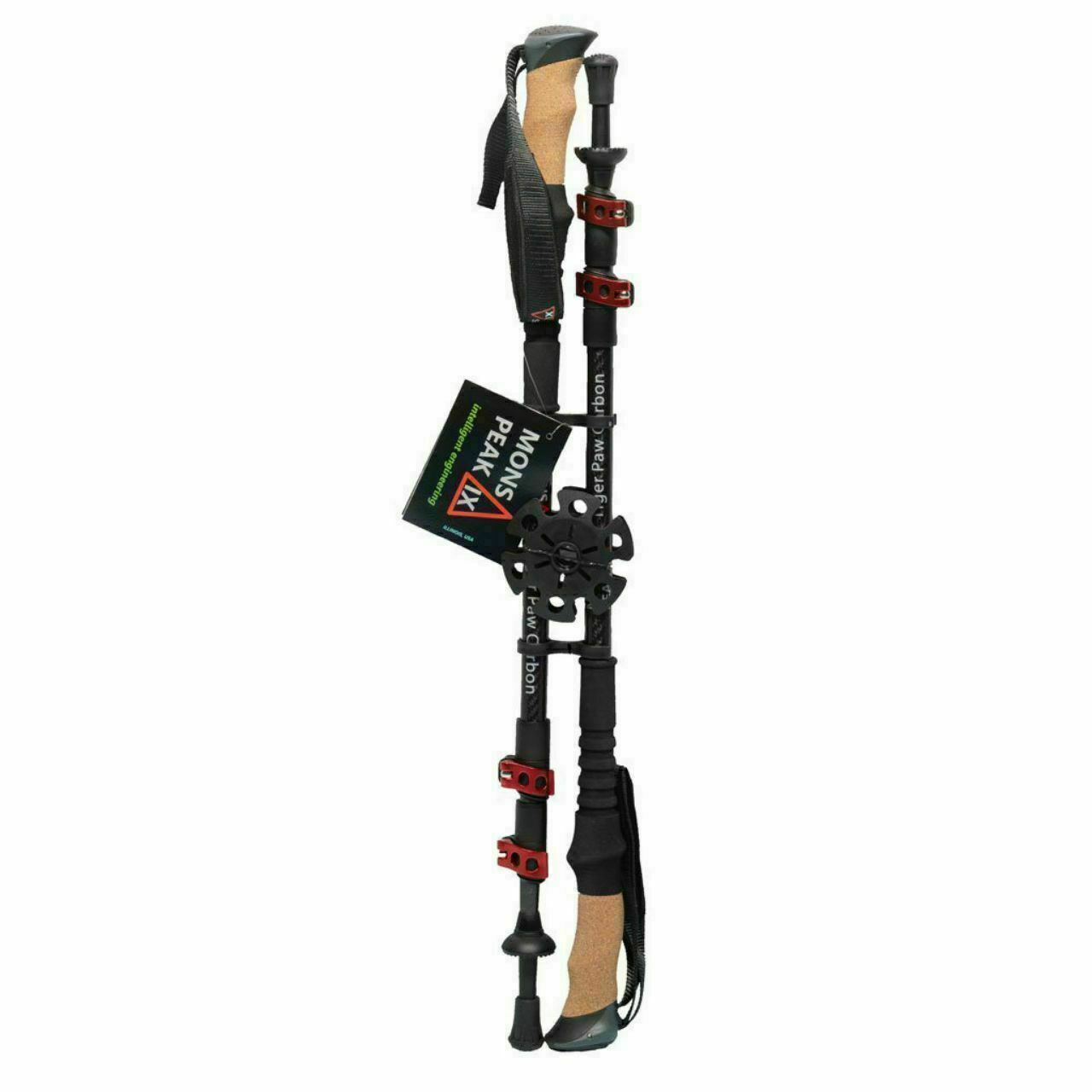 Mons Peak IX Tiger Paw Carbon Fiber Adjustable Hiking/Trekking Poles 24.5
