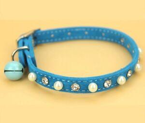 Hundehalsband-Strass-Leder-Halsband-Blau-Gloeckchen-Chihuahua-Yorkie-Perlen-S