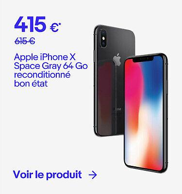 Apple iPhone X Space Gray 64 Go reconditionné bon état - 415 €*