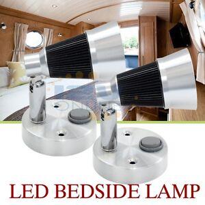 2x 12v led swivel bedside reading lamp bedroom wall mount for 12 volt table lamp