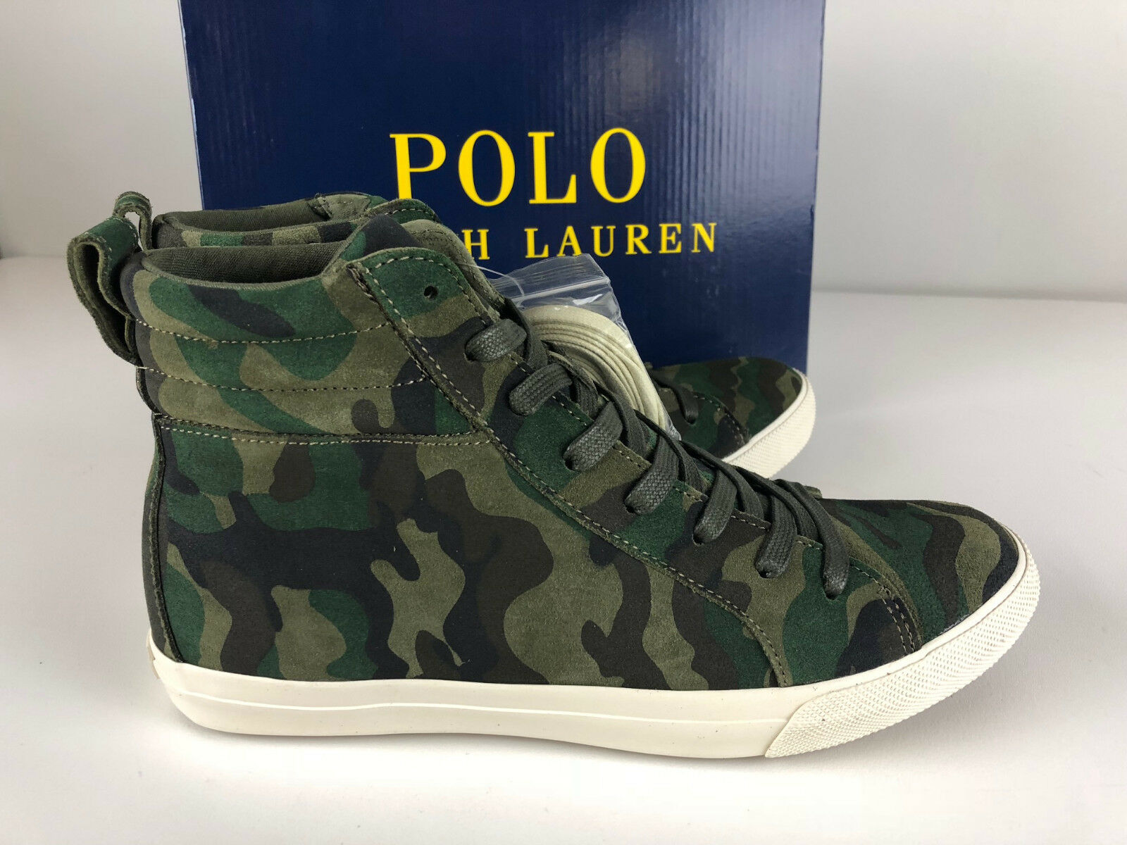 Polo Ralph Lauren Gaven Camo Suede Leather Sneaker Shoes NIB  125 Hi-Tops Polo