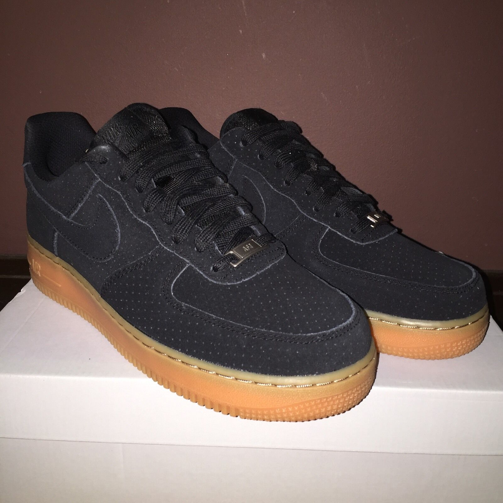 47eb393d8d77 Nike Air Air Air Force 1 '07 Suede Wmns 749263 002 black/Gum 750 Boost New  ! Supreme a5da7b